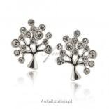 Kolczyki srebrne z cyrkonią Drzewko szczęścia