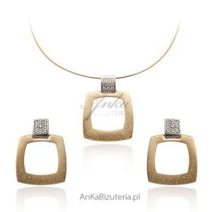 Pozłacany komplet biżuterii srebrnej