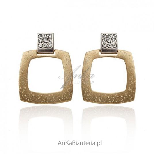 Kolczyki srebrne pozłacane z kryształkami Swarovskiego
