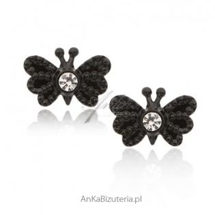 Kolczyki srebrne Czarne motylki z cyrkoniami