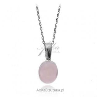 Komplet biżuterii srebrnej z kolorowymi kamieniami - różowy