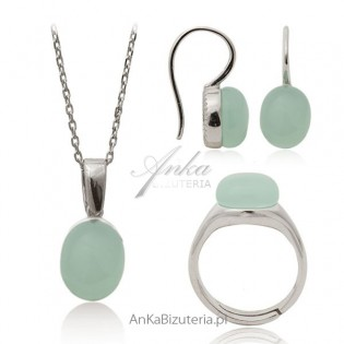 Biżuteria srebrne z kamieniami - kwarc seledynowy