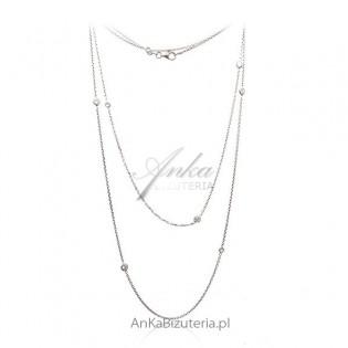 Długi naszyjnik srebrny Swarovski