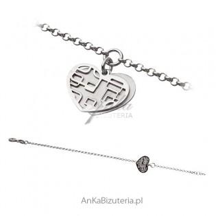 Bransoletka srebrna z przywieszką -sercem