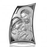 Srebrna Pamiątka-Święta Rodzina pochylona nad dzieciątkiem. GRAWER