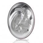 Cudny obrazek Świętej Rodziny ze srebra - owalny. GRAWER
