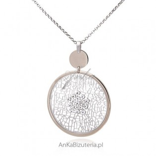 Naszyjnik srebrny rodowany ażurowa siateczka z cyrkoniami