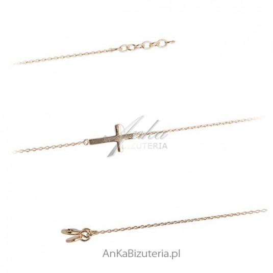 Bransoletka srebrna pozłacana z krzyżykiem