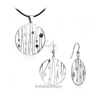 Komplet biżuterii srebrnej. Biżuteria włoska rodowana