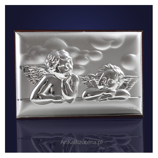 Dwa aniołki ze srebra dla małego Aniołka 9cm*6cm GRAWER