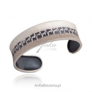 Szeroka sztywna bransoletka srebrna oksydowana