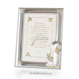 Ramka srebrna do zdjęcia 10*15 - Prezent na Chrzest GRAWER