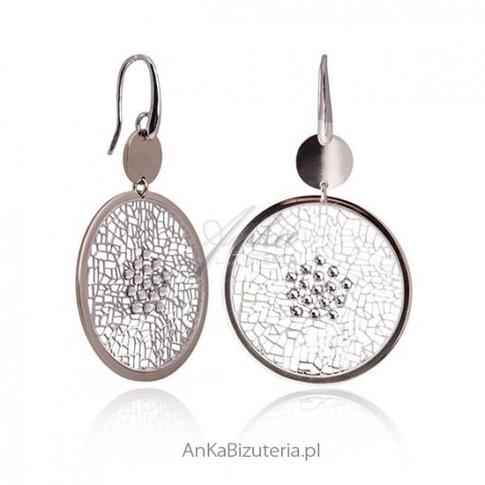 fc48ad7cb3c836 Duże kolczyki srebrne Ażurowe kółka z cyrkoniami