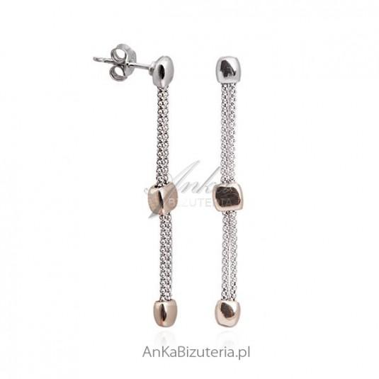 Srebrne kolczyki wiszące srebrno-złote.Biżuteria włoska