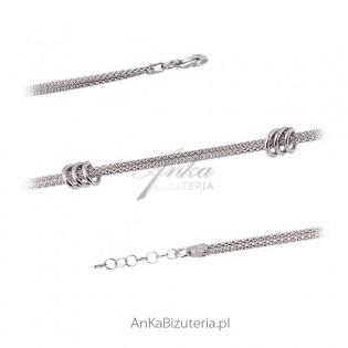 Bransoletka srebrna rodowana Biżuteria włoska.