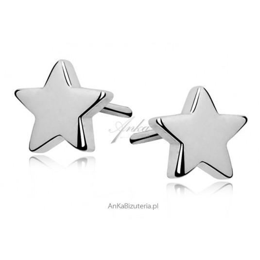 Delikatne kolczyki srebrne gwiazdki