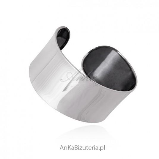 Sztywna szeroka bransoletka srebrna rodowana PIĘKNA!