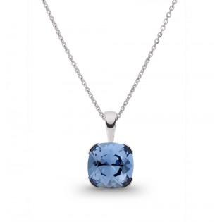 Srebrny naszyjnik Swarovski niebieski Piękna biżuteria Swarovski