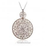 """Piękna biżuteria srebna """"Królowa Śniegu"""" Duży Naszyjnik srebrny pozłacany"""