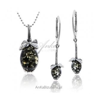 Biżuteria srebrna z bursztynem zielonym Ważki Komplet srebrny