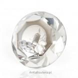 Piękny duży kryształ ze srebrnym motywem na Chrzest - wspaniała Pamiątka.