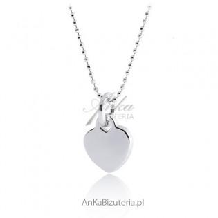 Naszyjnik srebrny z serduszkiem Biżuteria srebrna rodowana