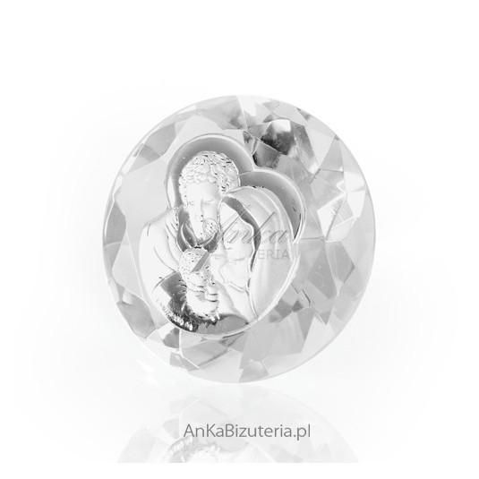 Piękny mały kryształ ze srebra z Świętą Rodziną - wspaniała Pamiątka.