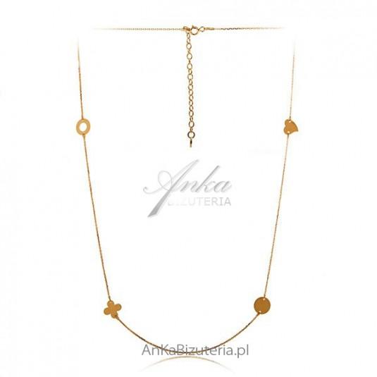 efc6a7ede3543a Długi naszyjnik celebrytka Wisiorek złoty celebrytek Piękna biżuteria