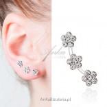Modne kolczyki srebrne NAUSZNICE ! Kolczyki potrójne kwiatki- białe
