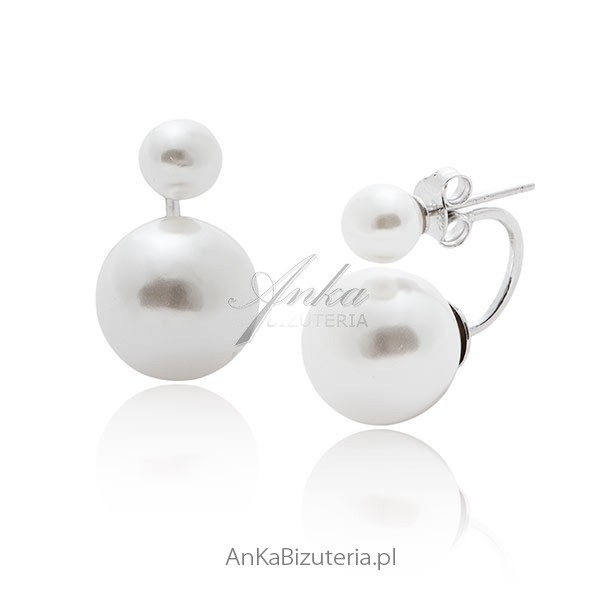 kolczyki srebrne z perłami celebrytek