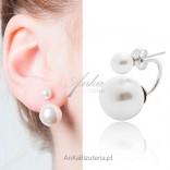 Kolczyki srebrne dwie perełki mała i duża