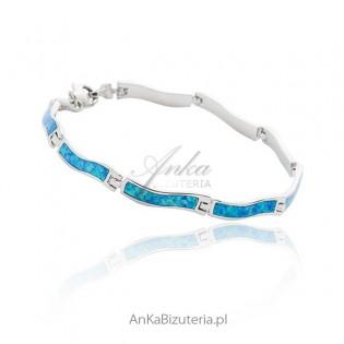 Bransoletka srebrna damska z niebieskim opalem