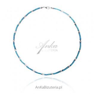 Biżuteria z opalem Naszyjnik srebrny z niebieskim opalem Elegancka biżuteria srebrna