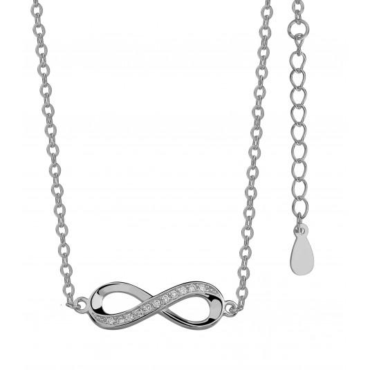 Biżuteria srebrna - Naszyjnik srebrny Nieskończoność cyrkonie