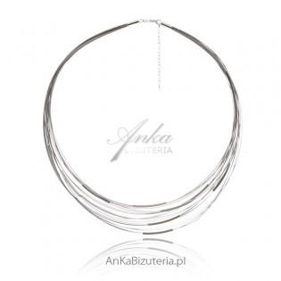 Naszyjnik srebrny na stalowych linkach