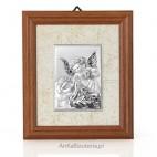 Gustowny, subtelny obrazek srebrny w ramce drewnianej - Aniołek z latarnią pochylający się nad Dzieckiem-GRAWER
