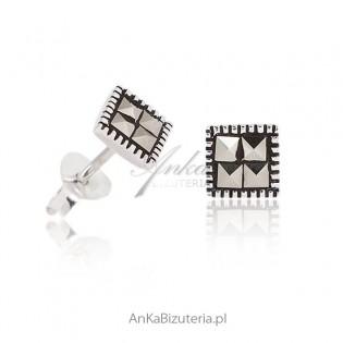Subtelne Kolczyki srebrne z markazytami. Biżuteria srebrna z markazytami