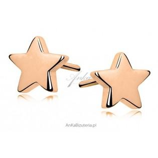*Kolczyki srebrne* Gwiazdki pozłacane