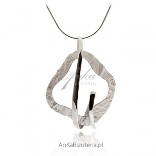 Biżuteria srebrna :Zawieszka srebrna rodowana i diamentowana