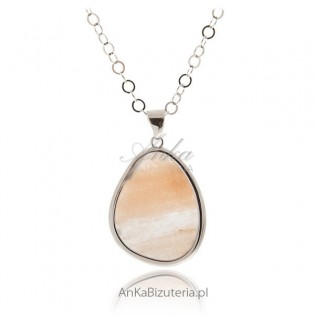 Biżuteria srebrna: Wisior srebrny z rożowym awenturynem