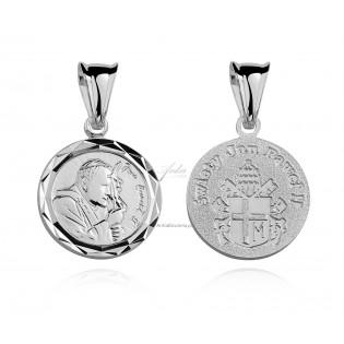 Srebrny medalik diamenowany .Papież Jan Paweł II