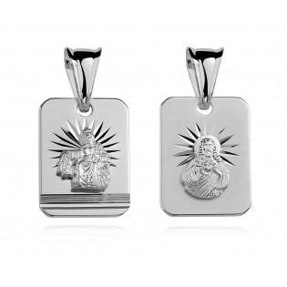 Medalik srebrny Matka Boża Szkaplerzna i Jezus