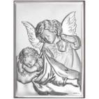 Aniołek z latarenką, świecący nad śpiącym Dzieciątkiem - 18*13 obrazek srebrny. Prezent dla Dziecka. GRAWER