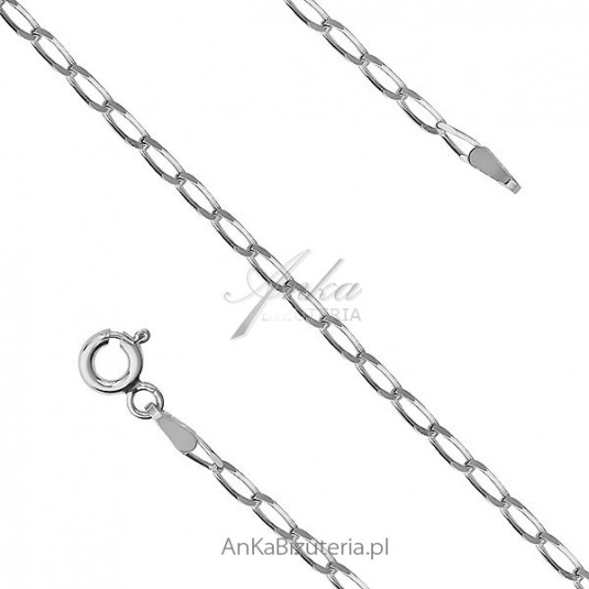 Łańcuszek srebrny rodowany50 cm 60 cm 70 i cm Cheval Rod . Łańcuszek włoski.