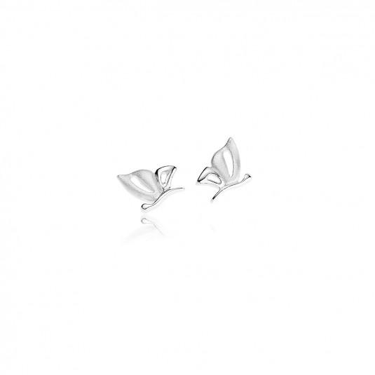 Biżuteria Motylki srebrne rodowane kolczyki-matowo-świecące