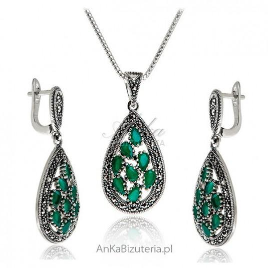 Biżuteria srebrna Komplet z markazytami i szmaragdami
