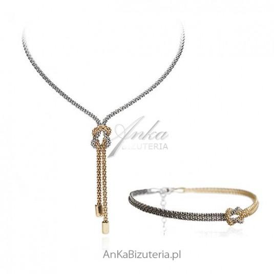 Komplet srebrny włoski - Dwa Kolory