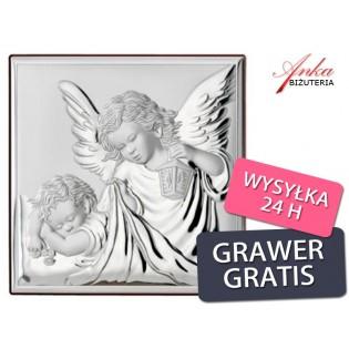 Obrazek Srebrny Anioł Stróż z latarenką Prezent dla Dziecka Grawer Gratis