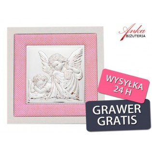 Aniołek z latarenką - Obrazek srebrny - Pamiątka dla Dziewczynki
