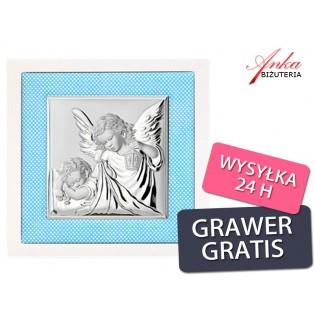 Aniołek z latarenką - Obrazek srebrny - Pamiątka dla Chopca